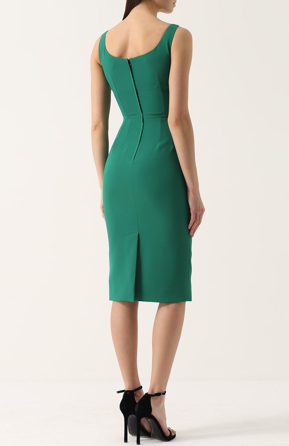 Приталенное платье-миди без рукавов Dolce & Gabbana зеленое | Фото №4