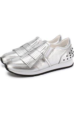 Кроссовки из металлизированной кожи с бахромой | Фото №1