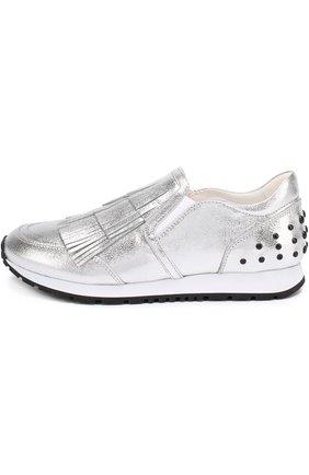 Женские кроссовки из металлизированной кожи с бахромой TOD'S серебряного цвета, арт. XXW0Y00T290MEC   Фото 2