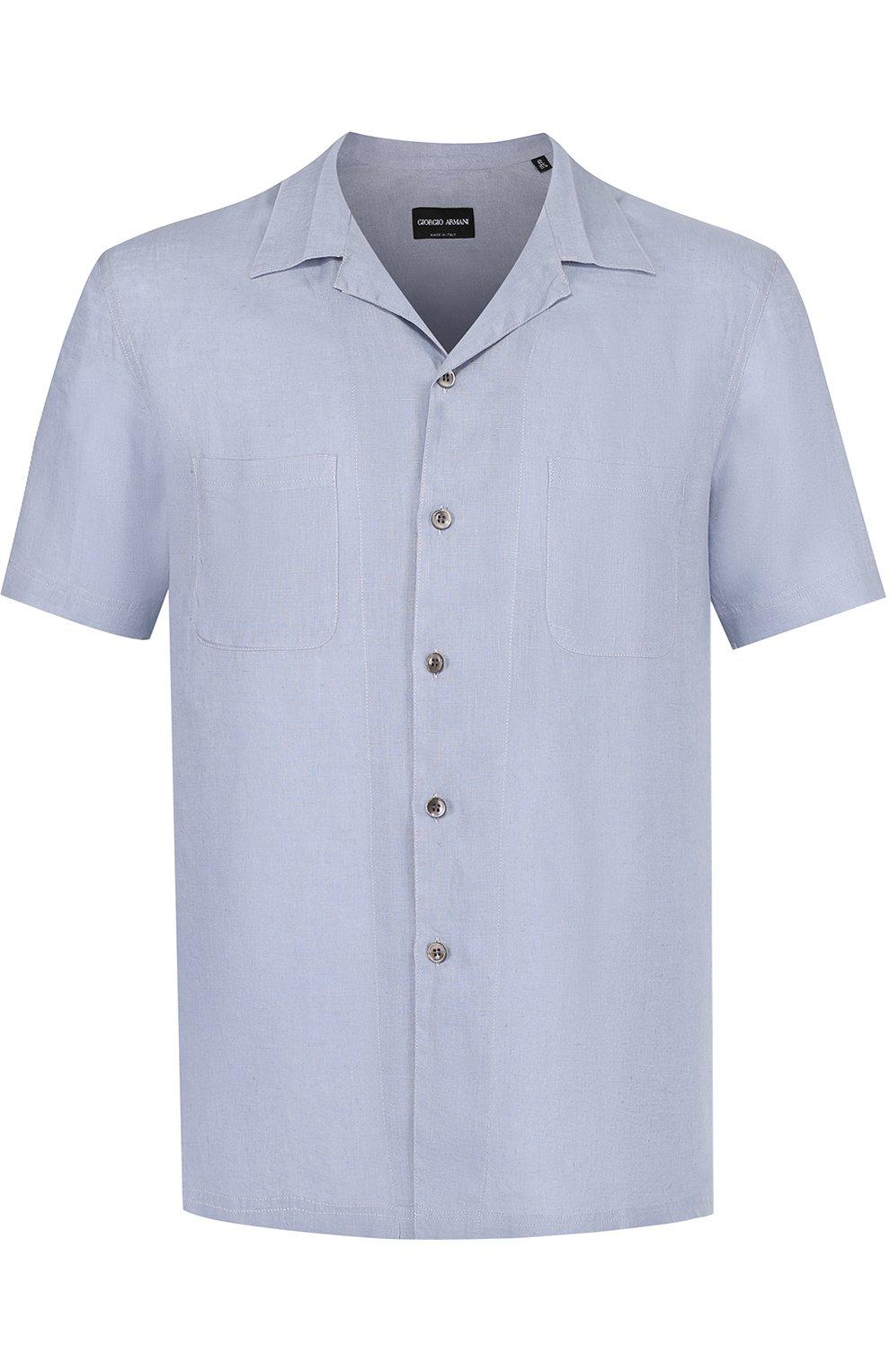 Льняная рубашка с короткими рукавами | Фото №1