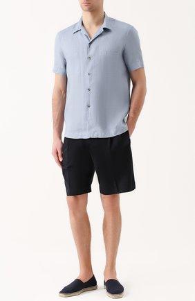 Льняная рубашка с короткими рукавами | Фото №2