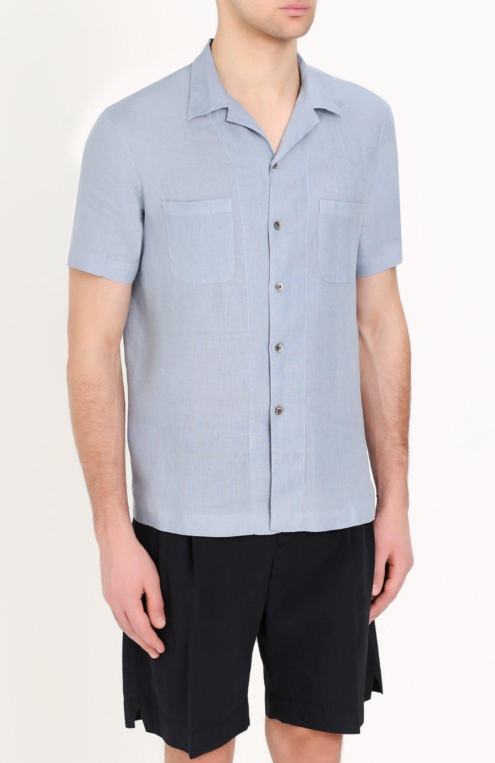 Льняная рубашка с короткими рукавами | Фото №3