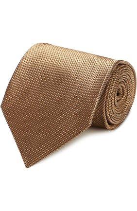Мужской шелковый галстук с узором TOM FORD золотого цвета, арт. 9TF111TF | Фото 1