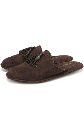 Замшевые домашние туфли без задника | Фото №1
