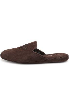 Домашние замшевые туфли с вышивкой | Фото №2