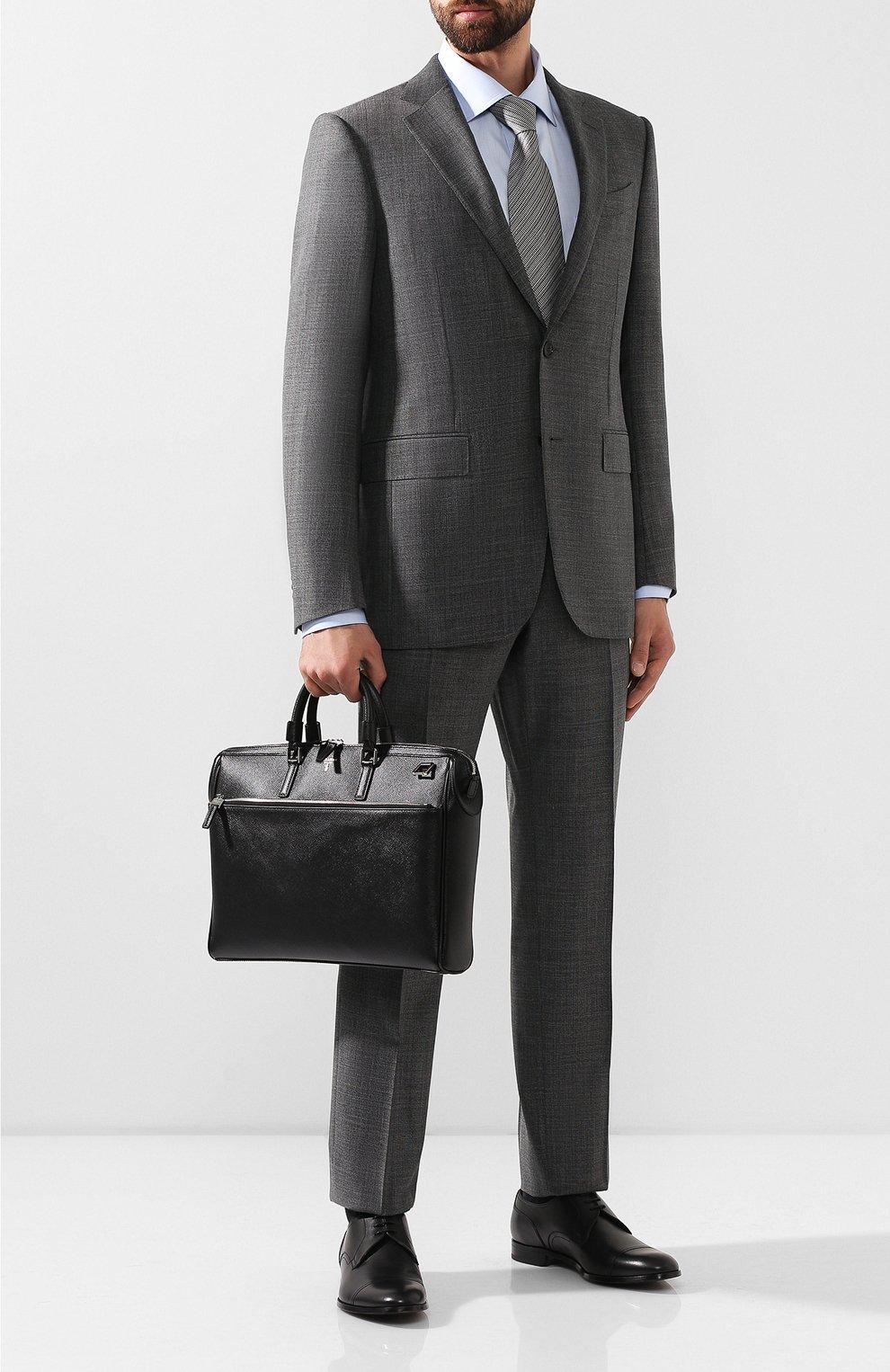 Кожаная сумка для ноутбука Serapian черная | Фото №2
