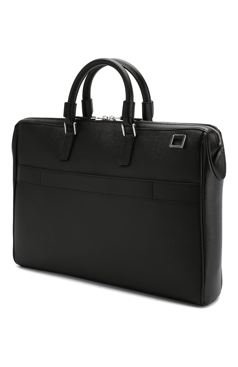 Кожаная сумка для ноутбука Serapian черная | Фото №3