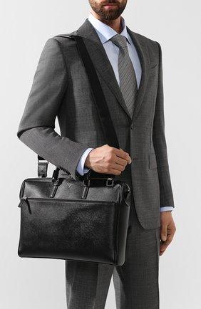 Кожаная сумка для ноутбука Serapian черная | Фото №5