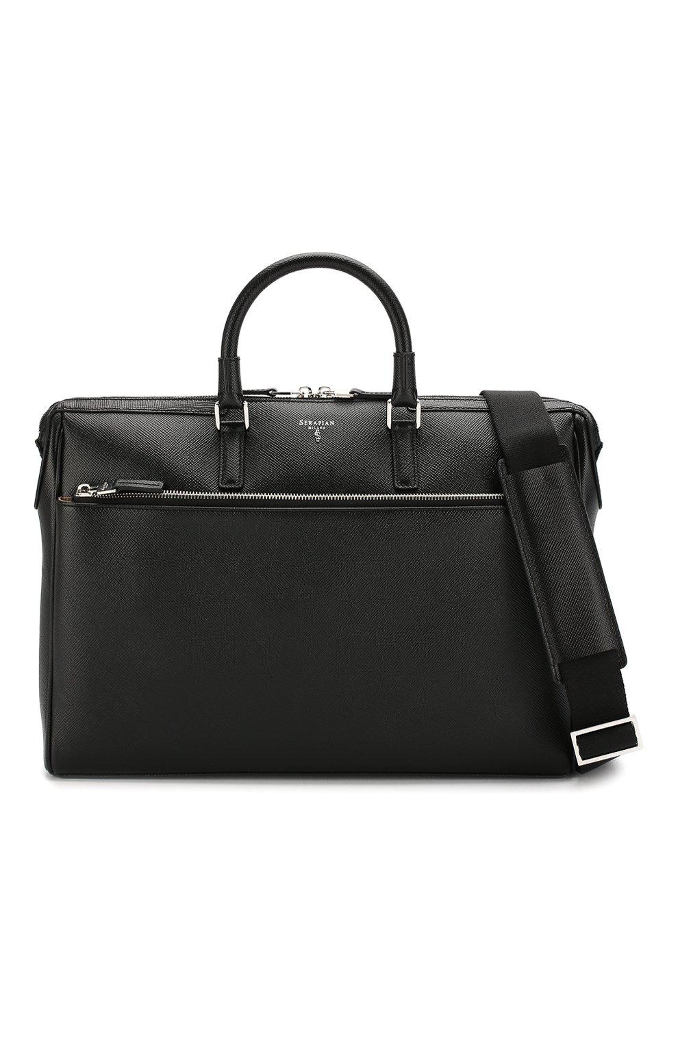 Кожаная сумка для ноутбука Serapian черная | Фото №6