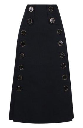 Юбка-миди с завышенной талией и декоративной отделкой Dolce & Gabbana темно-синяя | Фото №1
