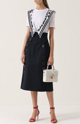 Юбка-миди с завышенной талией и декоративной отделкой Dolce & Gabbana темно-синяя | Фото №2