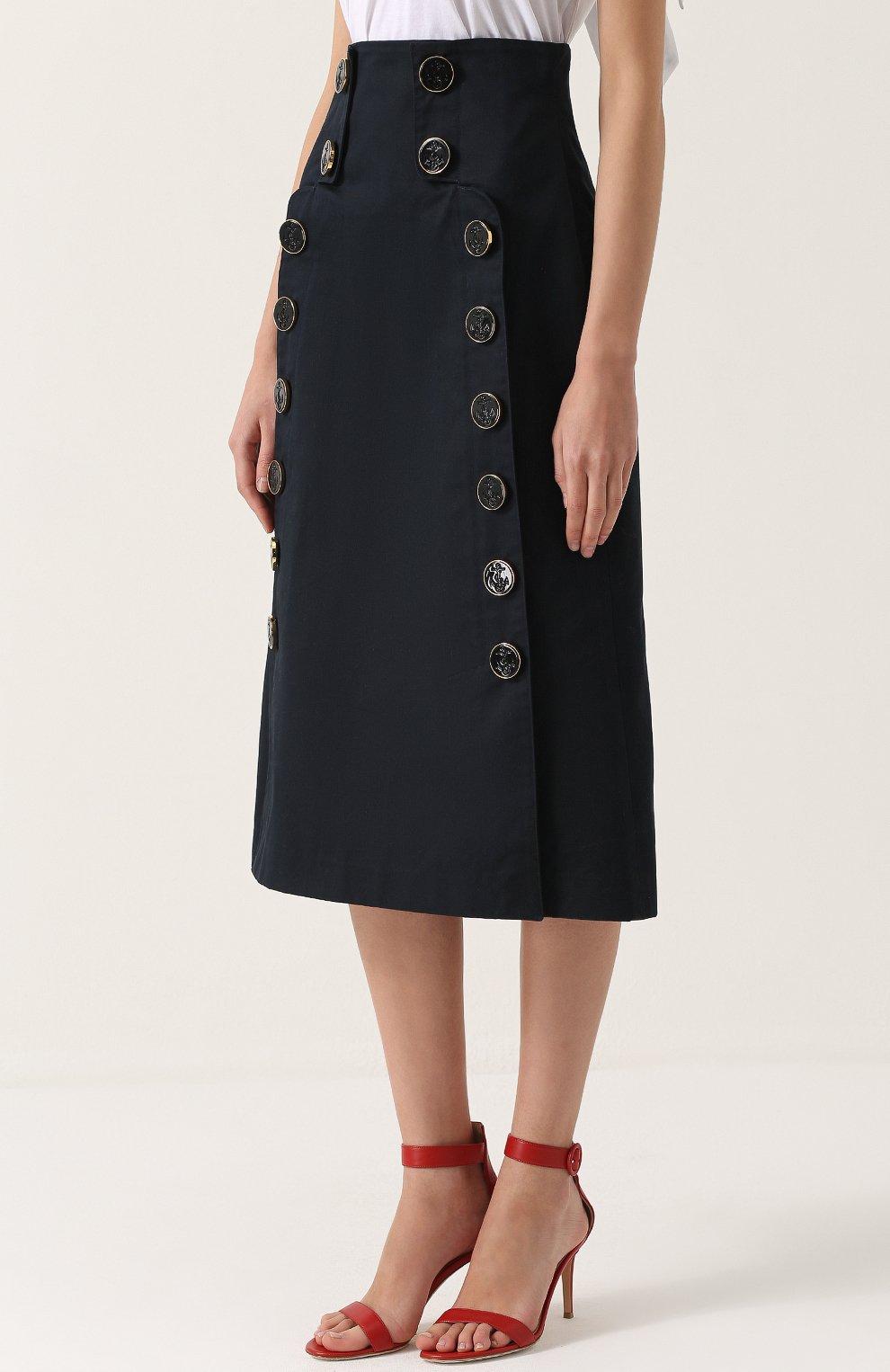 Юбка-миди с завышенной талией и декоративной отделкой Dolce & Gabbana темно-синяя | Фото №3