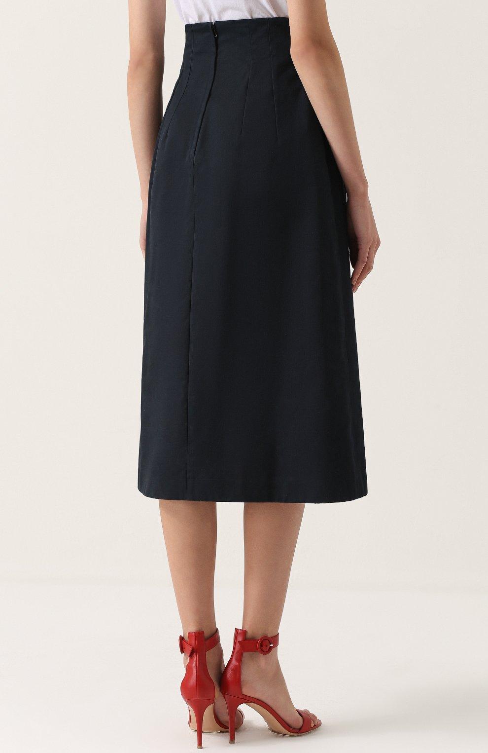 Юбка-миди с завышенной талией и декоративной отделкой Dolce & Gabbana темно-синяя | Фото №4