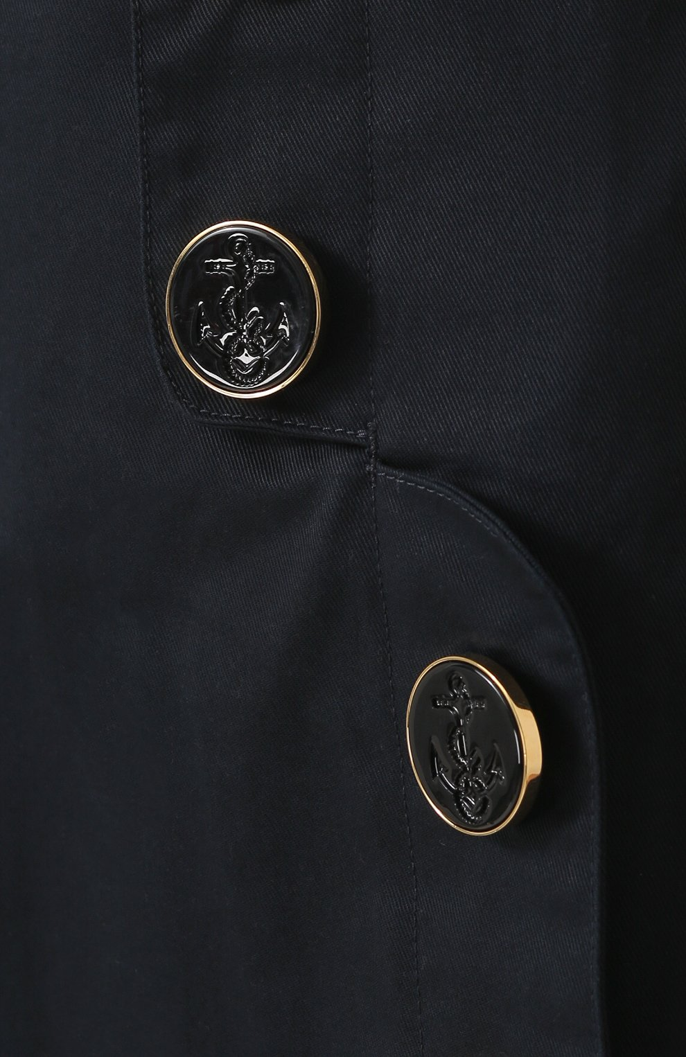 Юбка-миди с завышенной талией и декоративной отделкой Dolce & Gabbana темно-синяя | Фото №5