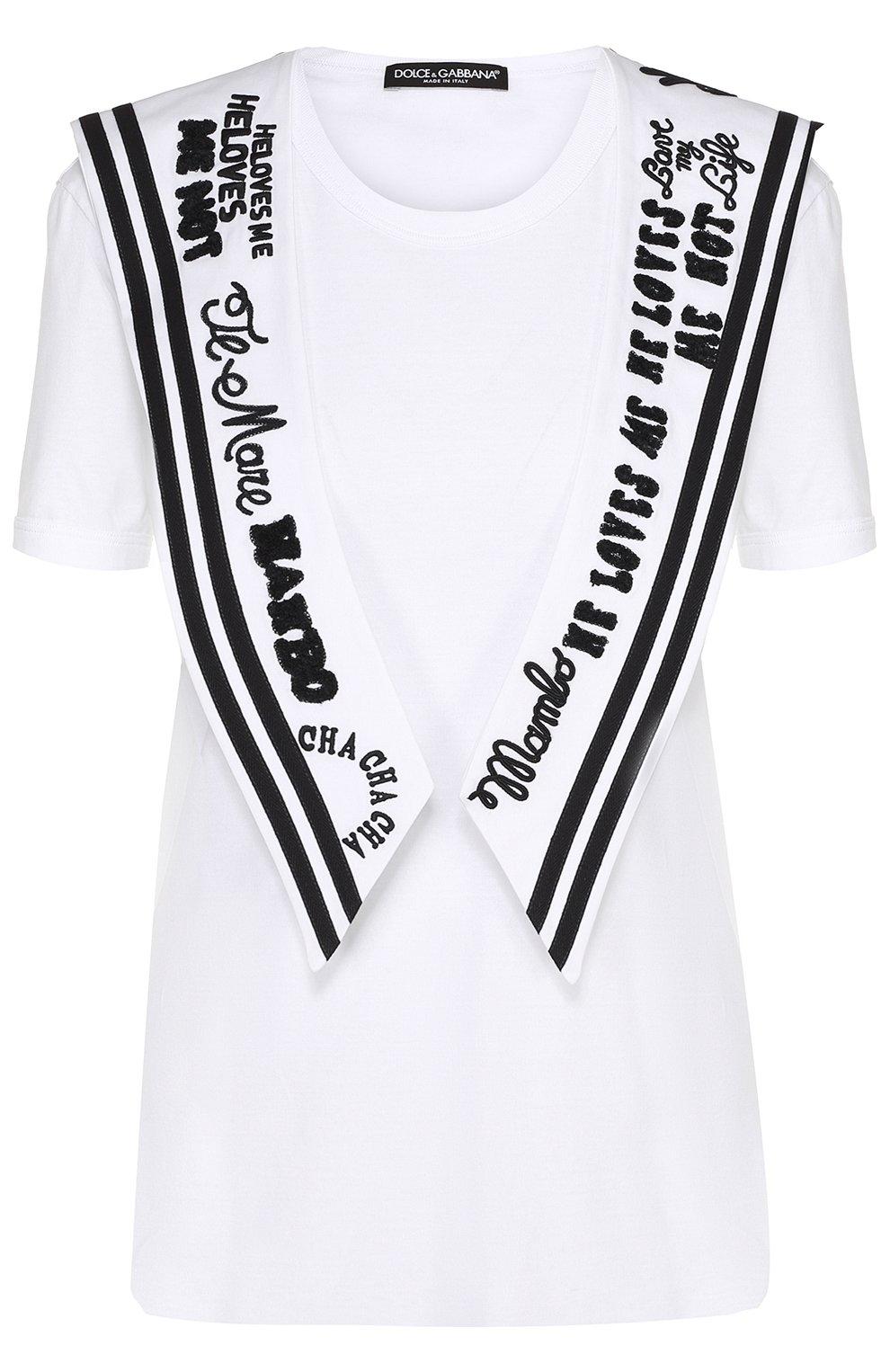 Удлиненная футболка с декорированным воротником матроской | Фото №1