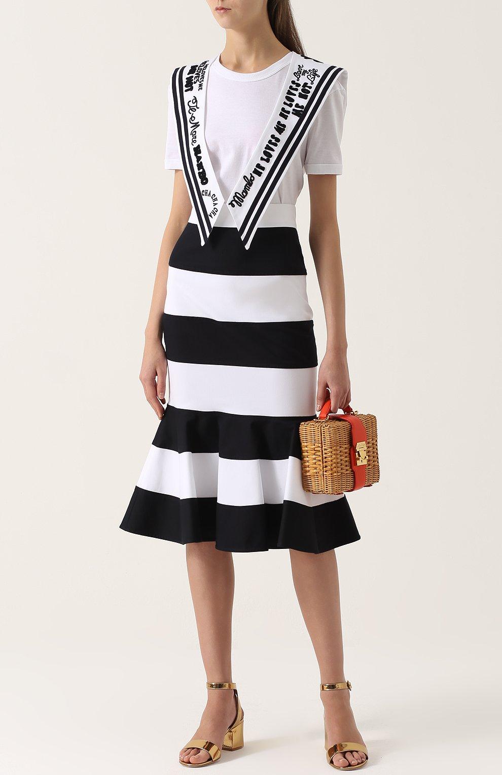Удлиненная футболка с декорированным воротником матроской Dolce & Gabbana белая | Фото №2
