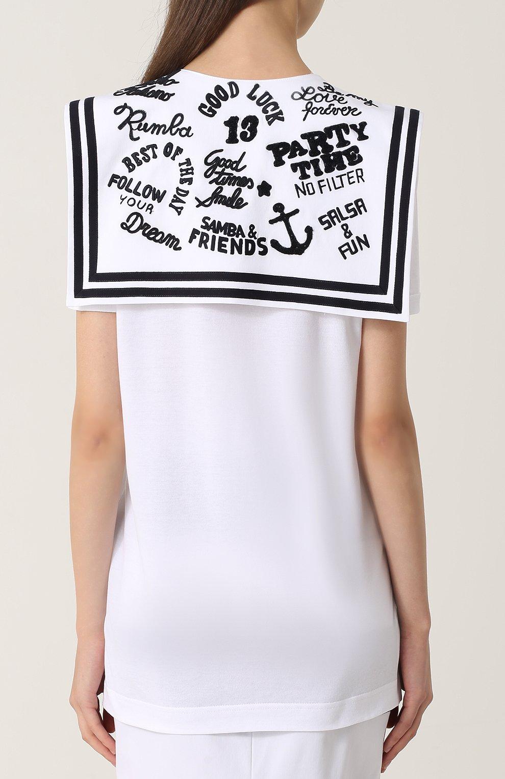 Удлиненная футболка с декорированным воротником матроской | Фото №4