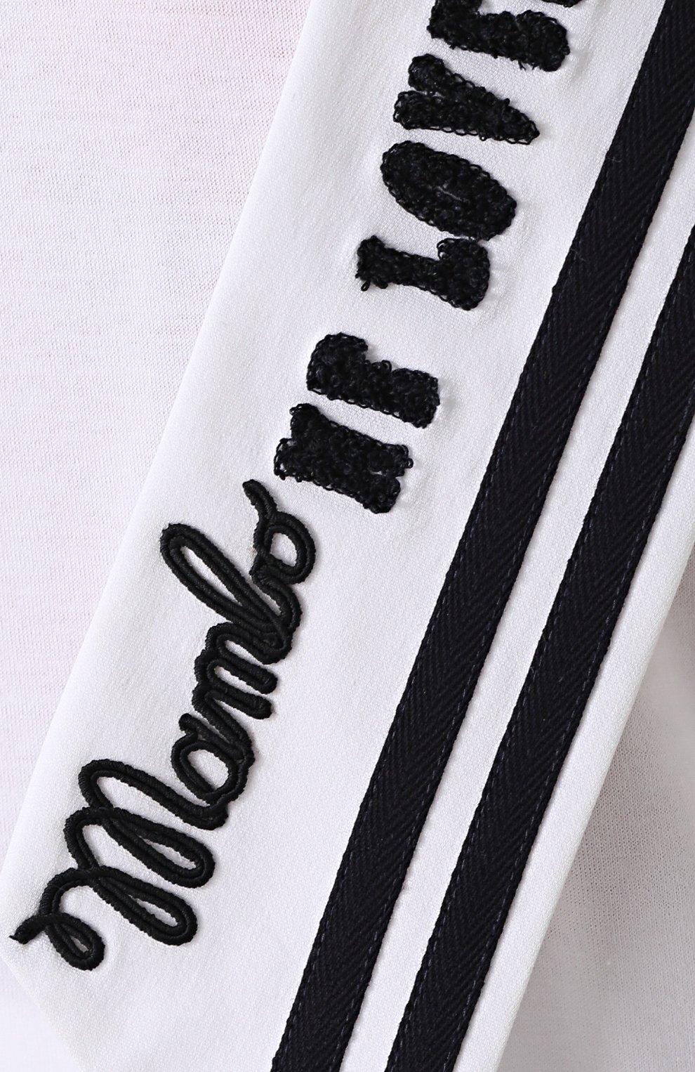 Удлиненная футболка с декорированным воротником матроской Dolce & Gabbana белая | Фото №5