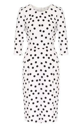 Приталенное платье в горох с укороченным рукавом Dolce & Gabbana черно-белое | Фото №1