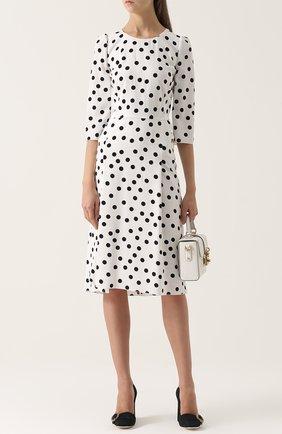 Приталенное платье в горох с укороченным рукавом Dolce & Gabbana черно-белое | Фото №2