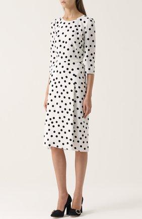 Приталенное платье в горох с укороченным рукавом Dolce & Gabbana черно-белое | Фото №3