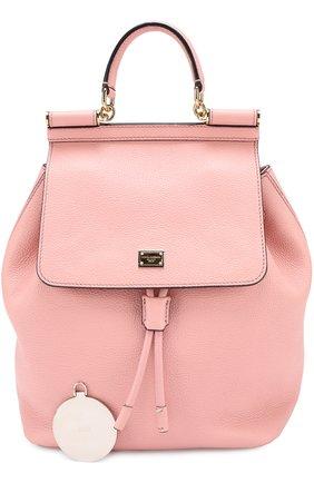 Рюкзак Sicily с клапаном Dolce & Gabbana розовый   Фото №4