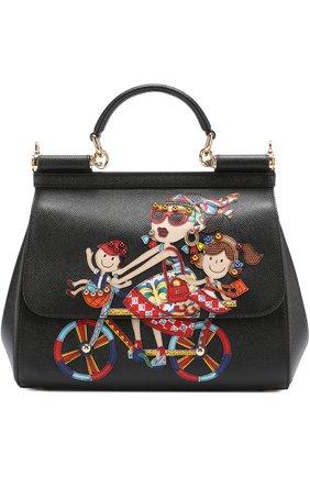 Сумка Sicily medium new с аппликацией DG Family Dolce & Gabbana черная цвета | Фото №1
