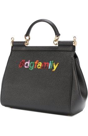 Сумка Sicily medium new с аппликацией DG Family Dolce & Gabbana черная цвета | Фото №2