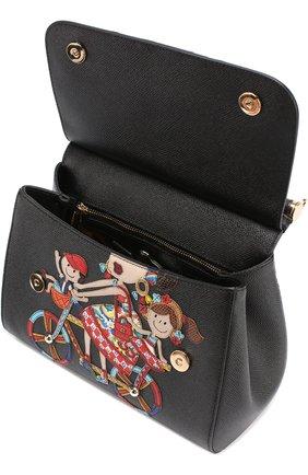 Сумка Sicily medium new с аппликацией DG Family Dolce & Gabbana черная цвета | Фото №3