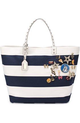 Текстильная сумка Beatrice с металлическим декором Dolce & Gabbana синяя цвета | Фото №1