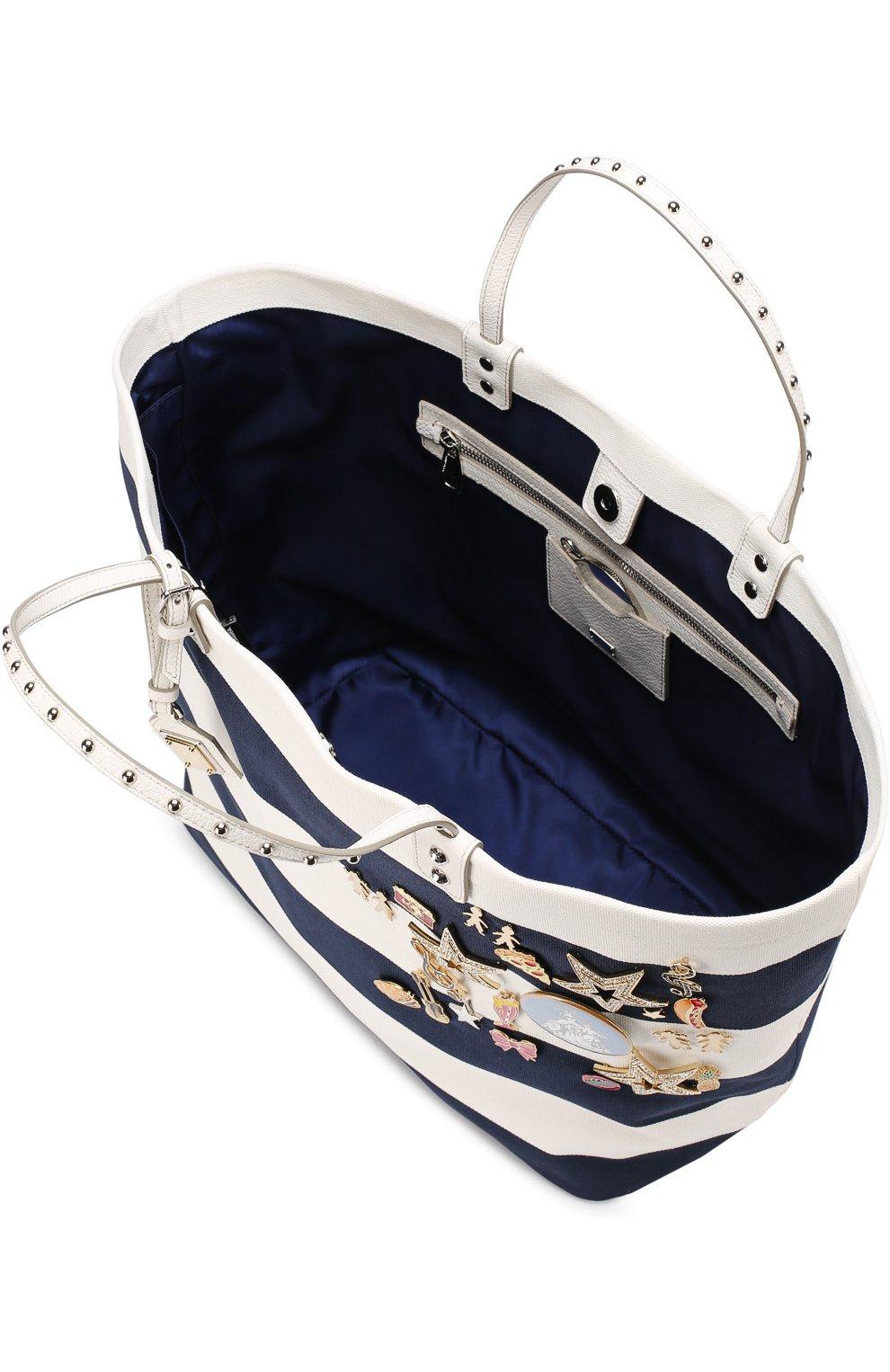 Текстильная сумка Beatrice с металлическим декором Dolce & Gabbana синяя цвета | Фото №3