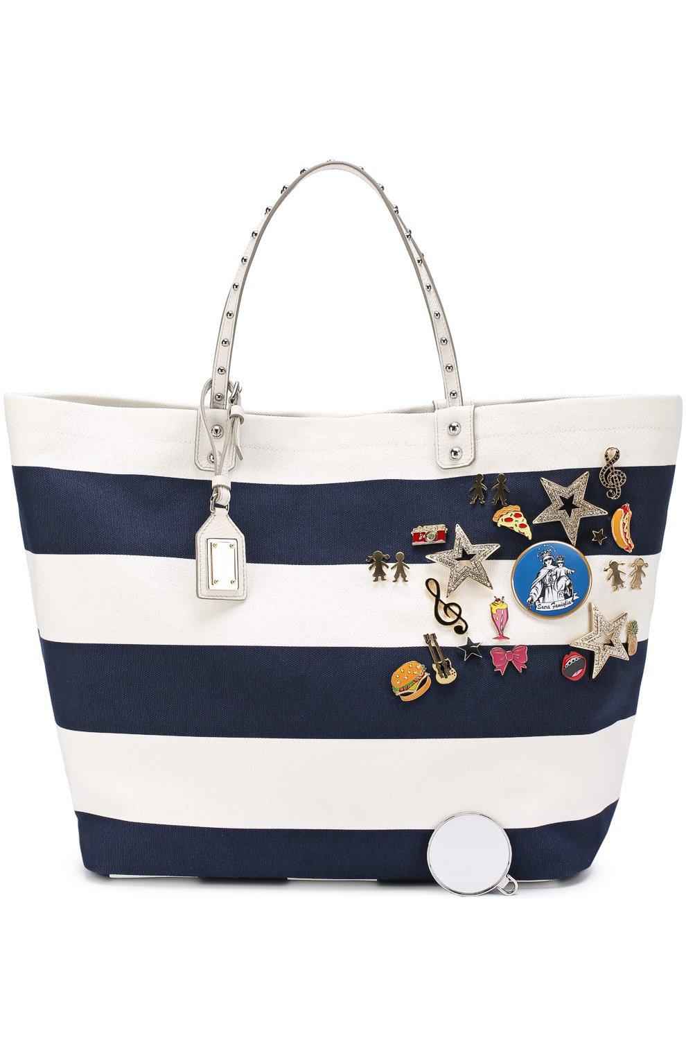 Текстильная сумка Beatrice с металлическим декором Dolce & Gabbana синяя цвета | Фото №4