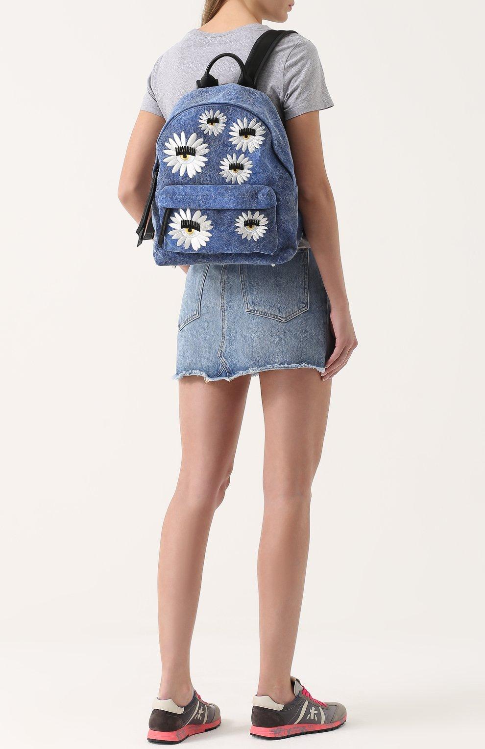 Текстильный рюкзак Flirting с вышивкой в виде цветов | Фото №2