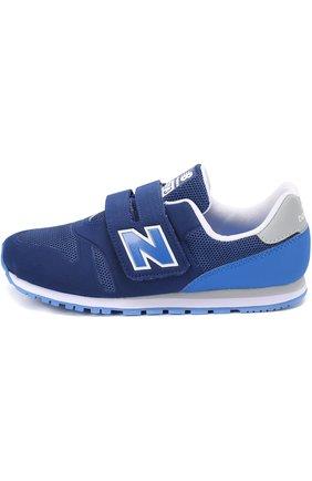 Детские комбинированные кроссовки 373 с застежкой велькро New Balance синего цвета | Фото №1