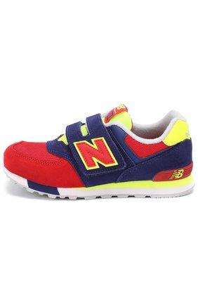 Детские комбинированные кроссовки 574 с застежкой велькро New Balance разноцветного цвета | Фото №1