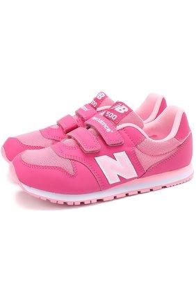 Детские комбинированные кроссовки 500 с застежками велькро New Balance розового цвета | Фото №1