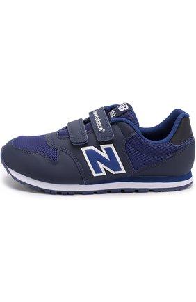 Детские комбинированные кроссовки 500 с застежками велькро New Balance темно-синего цвета | Фото №1