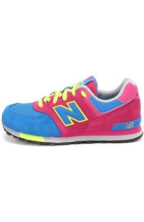 Детские комбинированные кроссовки 574 на шнуровке New Balance разноцветного цвета | Фото №1