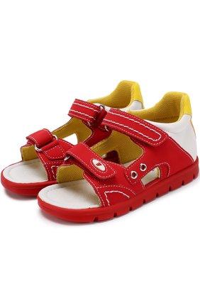 Комбинированные сандалии с застежками велькро и прострочкой   Фото №1