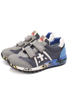 Комбинированные кроссовки с застежками велькро | Фото №1