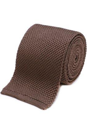 Мужской шелковый вязаный галстук TOM FORD бежевого цвета, арт. 9TF591MF | Фото 1