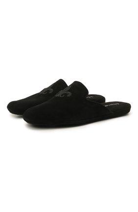Мужского домашние замшевые туфли с вышивкой HOMERS AT HOME черного цвета, арт. 17418/ANTE | Фото 1