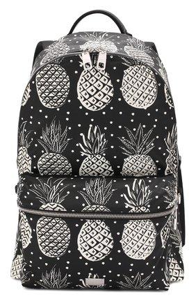 Текстильный рюкзак Vulcano с принтом и отделкой из натуральной кожи Dolce & Gabbana черно-белый | Фото №1