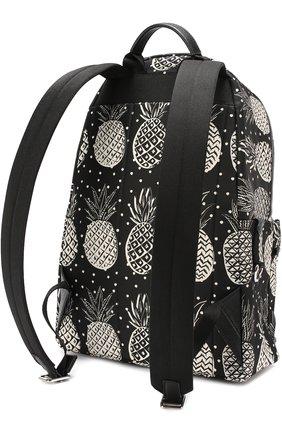 Текстильный рюкзак Vulcano с принтом и отделкой из натуральной кожи Dolce & Gabbana черно-белый | Фото №2