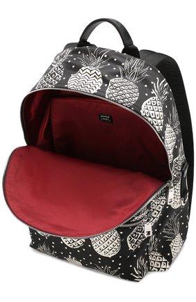 Текстильный рюкзак Vulcano с принтом и отделкой из натуральной кожи Dolce & Gabbana черно-белый | Фото №3