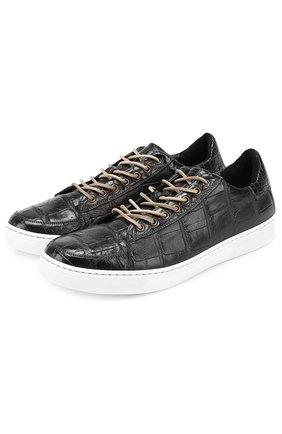 Кеды из кожи крокодила на шнуровке Dami черные | Фото №1