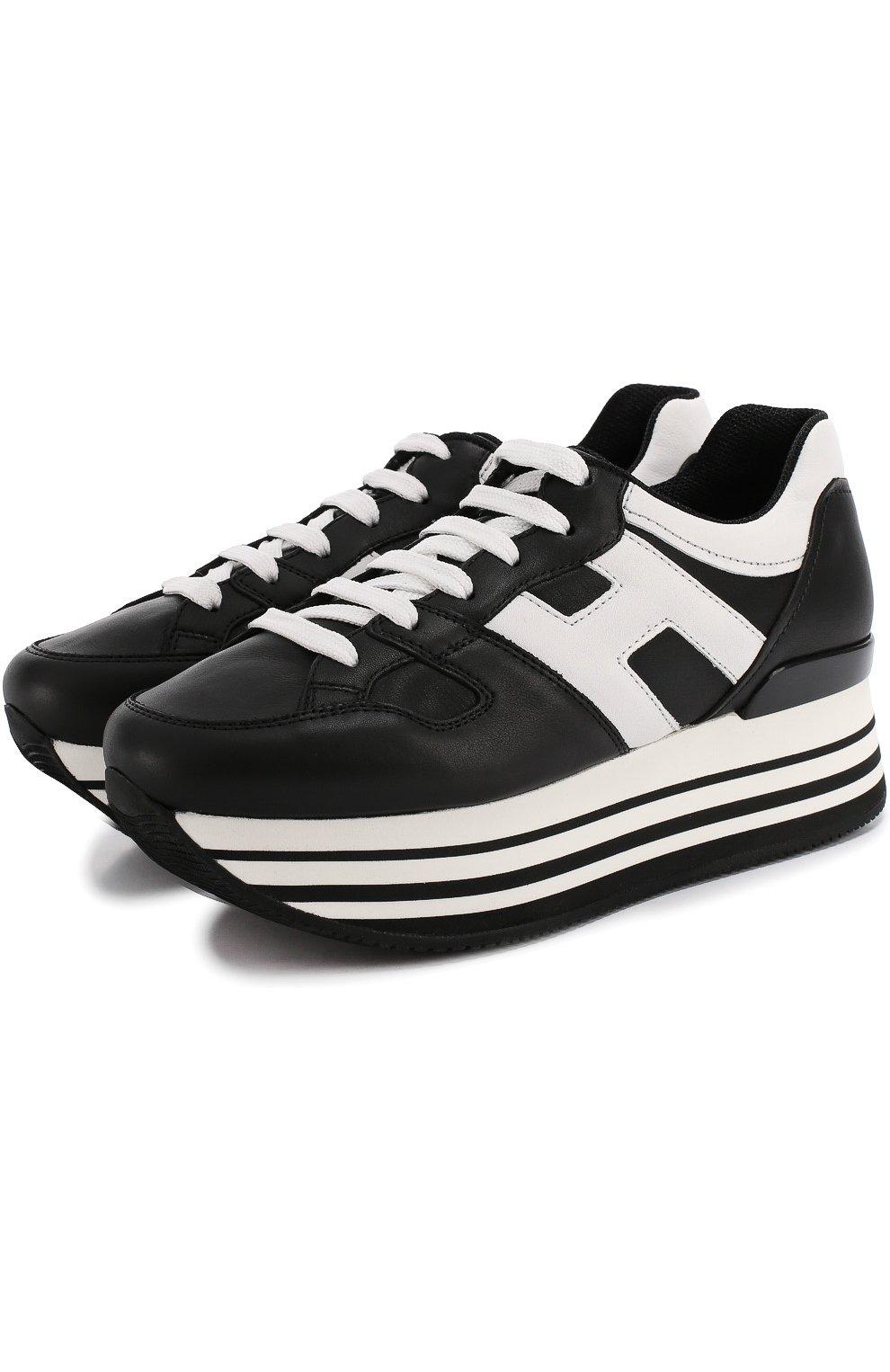 Кожаные кроссовки на контрастной платформе   Фото №1