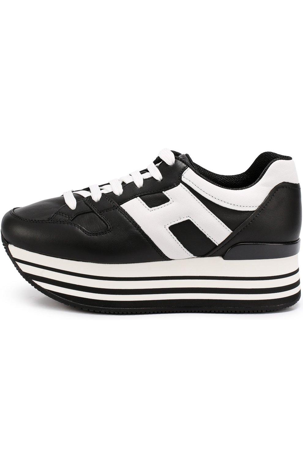Кожаные кроссовки на контрастной платформе   Фото №2