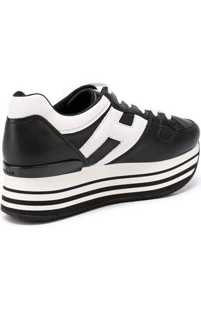 Кожаные кроссовки на контрастной платформе   Фото №3