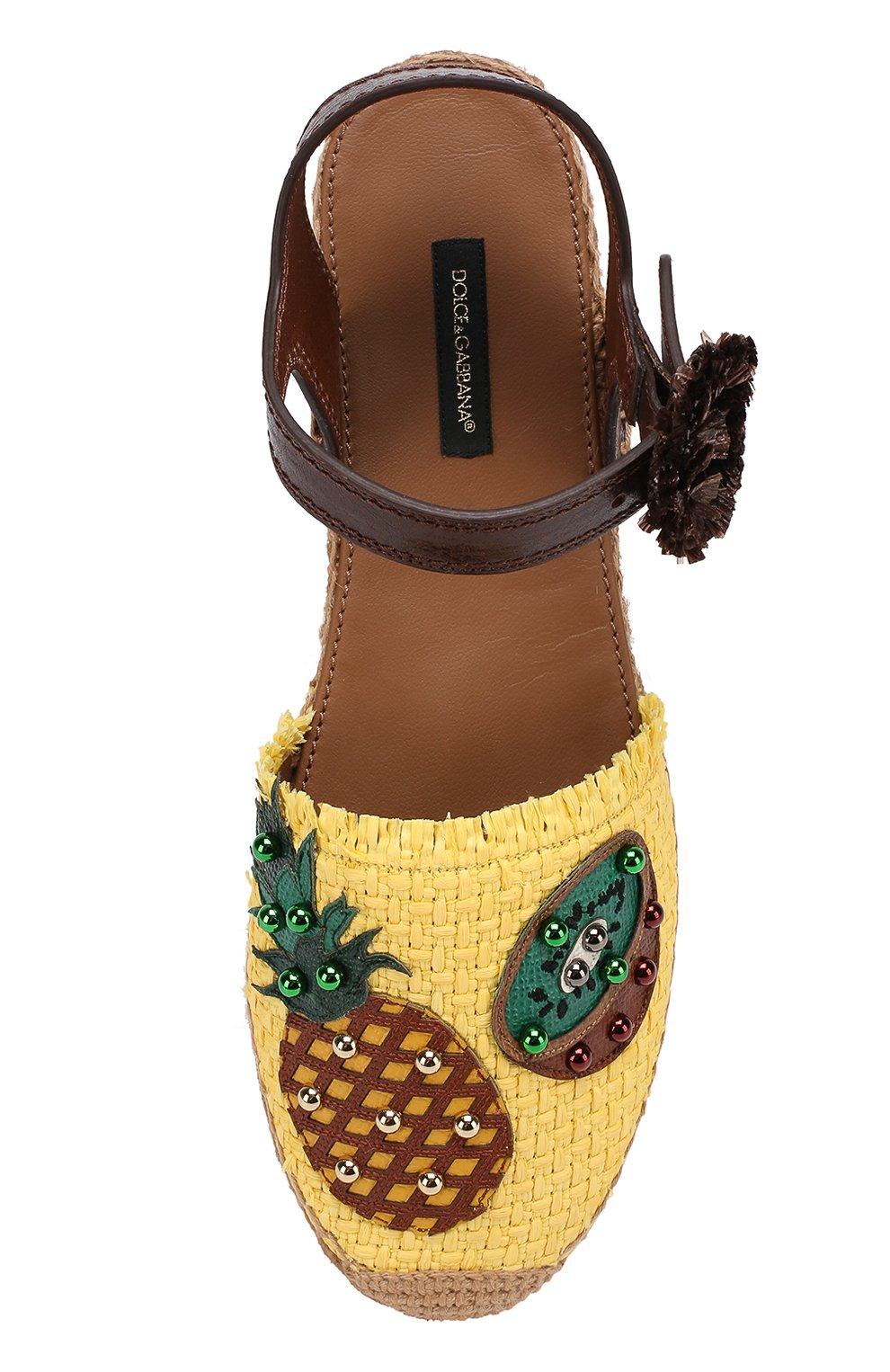 Плетеные эспадрильи с аппликациями Dolce & Gabbana желтые   Фото №4